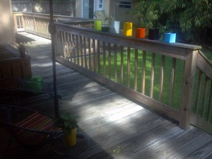 my recycled container deck herb garden