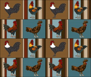 pop chicken fabric design by lisakarenward