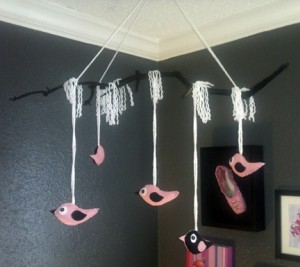 handmade felt pink & black bird mobile