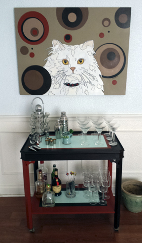 custom painted bar cart