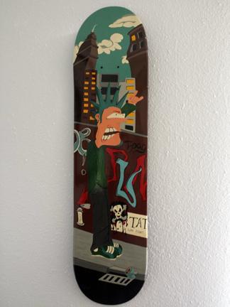 disalutioned design little d skate deck