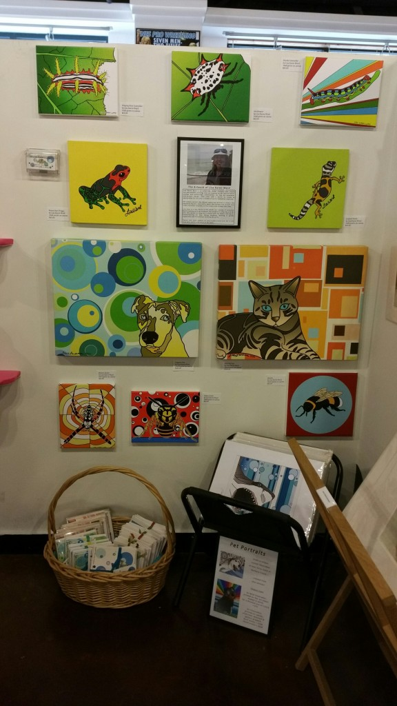 Lisa's display at ZaPow Gallery in downtown Asheville